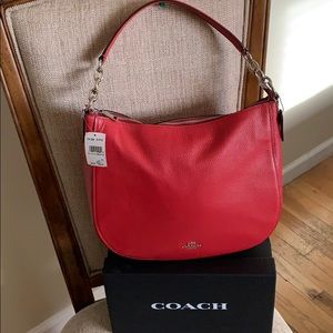 Coach Pebble Leather Elle Hobo Red